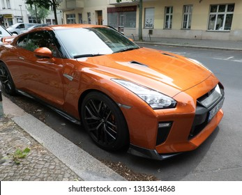 Berlin, Germany - May 15, 2018: Orange Nissan GT-R,  a 2-door 2+2 high performance vehicle produced by Nissan, unveiled in 2007