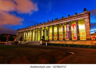 Berlin, Germany - May 16, 2016: night view of The Old Museum, that is a museum on Museum Island in Berlin, housing currently the antiquities collection of the Berlin State Museums