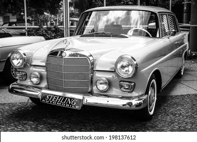 BERLIN, GERMANY - MAY 17, 2014: Executive car Mercedes-Benz 200 (W110). Black and white. 27th Oldtimer Day Berlin - Brandenburg