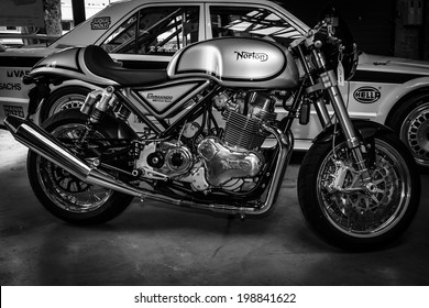BERLIN, GERMANY - MAY 17, 2014: Sports motorcycle Norton Commando 961 Cafe Racer. Black and white. 27th Oldtimer Day Berlin - Brandenburg