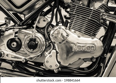 BERLIN, GERMANY - MAY 17, 2014: Engine of a sports motorcycle Norton Commando 961 Cafe Racer. Black and white. 27th Oldtimer Day Berlin - Brandenburg