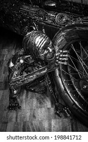 BERLIN, GERMANY - MAY 17, 2014: The mythical character Gollum, hand-made of metal, the firm Giganten aus Stahl (black and white). 27th Oldtimer Day Berlin - Brandenburg