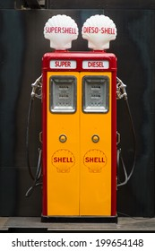 BERLIN, GERMANY - MAY 17, 2014: Fuel dispenser Themis (1952). 27th Oldtimer Day Berlin - Brandenburg
