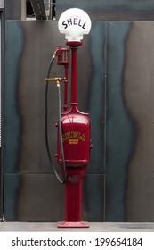 BERLIN, GERMANY - MAY 17, 2014: Fuel dispenser G&B Model T8, nickname Fat Lady (1918). 27th Oldtimer Day Berlin - Brandenburg