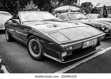 BERLIN, GERMANY - MAY 17, 2014: A two-seater convertible sports car TVR 350i. Black and white. 27th Oldtimer Day Berlin - Brandenburg