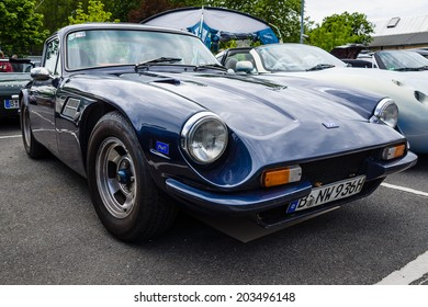 BERLIN, GERMANY - MAY 17, 2014: A two-seater convertible sports car TVR 3000M. 27th Oldtimer Day Berlin - Brandenburg