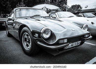 BERLIN, GERMANY - MAY 17, 2014: A two-seater convertible sports car TVR 3000M. Black and white. 27th Oldtimer Day Berlin - Brandenburg