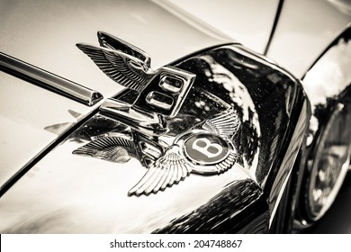 BERLIN, GERMANY - MAY 17, 2014: Hood ornament of the full-size luxury car Bentley T2. Black and white. 27th Oldtimer Day Berlin - Brandenburg