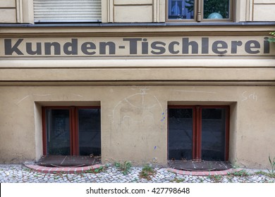 Berlin, Germany - May 17, 2016: historic cabinetmakers shop in Berlin. Berlin, the capital of Germany, has about 3.5 million inhabitants and is a global city of culture, politics, media and sciences