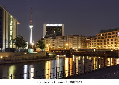 BERLIN, GERMANY - MAY 17, 2017: City view of Berlin from the river Spree, with the famous Tv Fernsehturm tower in the background