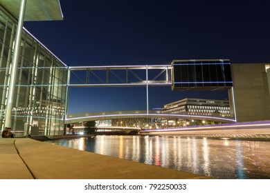 BERLIN, GERMANY - MAY 17, 2017: Modern architecture group of buildings in the government quarter (Regierungsviertel), next to Spree river.