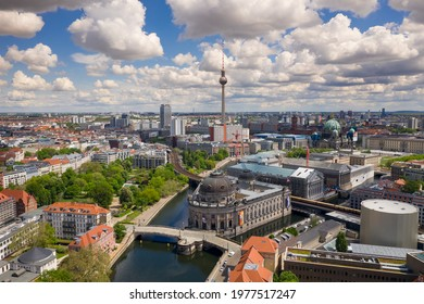 Berlin, Germany May 17 2021.Bode museum on Spree river and Alexanderplatz TV tower in center of Berlin, Germany.