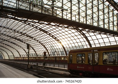 Berlin, Germany - May 18, 2015: Berlin train main station (Hauptbahnhof) on May 18, 2015 in Berlin, Germany. The main railway station in town and the largest crossing station in Europe