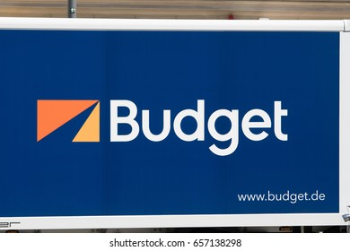 Berlin, Germany - May 18, 2017: Budget car rental logo. Budget Rent A Car was founded in 1958 as a car rental company. Today, as an industry leader, it has nearly 1,800 rental locations worldwide