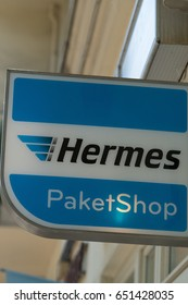 Berlin, Germany - May 19, 2017: Hermes signage. Hermes is Germany's largest post-independent logistics service provider for deliveries to private customers