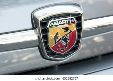 Berlin, Germany - May 19, 2017: Abarth logo. Abarth SpA is a racing car and road car maker founded by Italo-Austrian Abarth in 1949. Its logo is a shield with a scorpion on red and yellow background