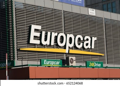 Berlin, Germany - May 19, 2017: Europcar logo. Europcar is an international car rental company owned by the French company Eurazeo