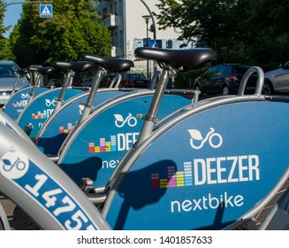 Berlin, Germany - May 19th 2019 - bublic bicycle sharing in the city of Berlin is offered by deezer nextbike. Rent one of over 5000 bikes