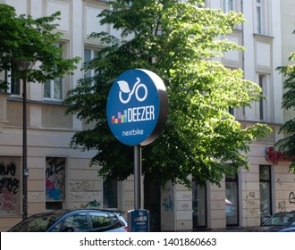 Berlin, Germany - May 19th 2019 - sign of public bicycle sharing in the city of Berlin, offered by deezer nextbike. Rent one of over 5000 bikes