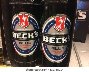 Berlin, Germany - May 2, 2017: Beck's beer bottles. Beck's Brewery is a brewery in the northern German city of Bremen