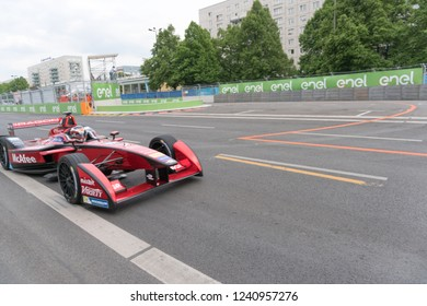 Berlin, Germany - May 20, 2016: McAfee Formula E racing car on race track. The FIA Formula E Championship is a class of auto racing, using only fully electric-powered cars