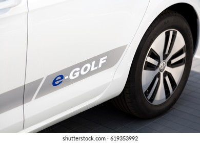 Berlin, Germany - May 20, 2016: Volkswagen e-Golf emblem on the side from a white car. Volkswagen Group is a German automobile manufacturing group based in Wolfsburg, Germany, and founded in 1937