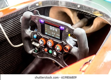 Berlin, Germany - May 20, 2016: Formula E racing car. Detail of steering wheel. The FIA Formula E Championship is a class of auto racing, using only fully electric-powered cars