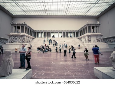 Berlin, Germany (May 2014) Tourists inside the Hall of Pergamon museum