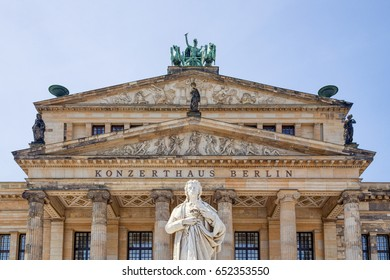 Berlin, Germany - May 2017: Schiller Monument on famous Gendarmenmarkt square. The monument by the prominent 19th-century German sculptor Reinhold Begas was unveiled on November 10, 1871.