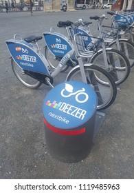 Berlin, Germany - May 2018: Bicycles of Deezer nextbike, a bike renting company in Berlin, Germany