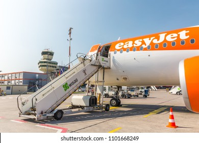Berlin Germany - May 2018: Easyjet Airbus A320 at Berlin Tegel airport