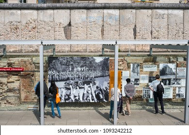 Berlin, Germany - may, 2018: People at the Topography of Terror (German: Topographie des Terrors) outdoor   history museum in Berlin, Germany