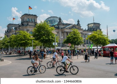 Berlin, Germany - may, 2018: People outside of the Reichstag building in Berlin Germany