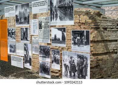Berlin, Germany - may, 2018: Pictures from the second world war at the Topography of Terror (German: Topographie des Terrors) outdoor  exhibition  at the Berlin Wall