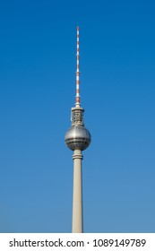 Berlin, Germany - may, 2018: The Television tower / Tv Tower (Fernsehturm), the most famous landmark in  Berlin,  Germany