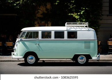 Berlin, Germany - may, 2018: A vintage VW T1 BULLI , oldtimer van from Volkswagen on street  in Berlin, Germany.