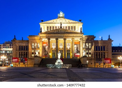 Berlin, Germany - May 2019: Concert Hall (Konzerthaus) on Gendarmenmarkt square at night