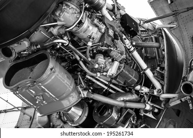 BERLIN, GERMANY - MAY 21, 2014: Turboprop engine Rolls-Royce Tyne Rty.20 Mk 22 (close-up) of a aircraft Transall C-160. Black and White. German Air Force. Exhibition ILA Berlin Air Show 2014