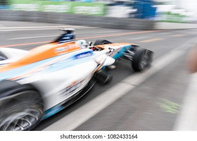 Berlin, Germany - May 21, 2016: Formula E racing car on race track. The FIA Formula E Championship is a class of auto racing, using only fully electric-powered cars