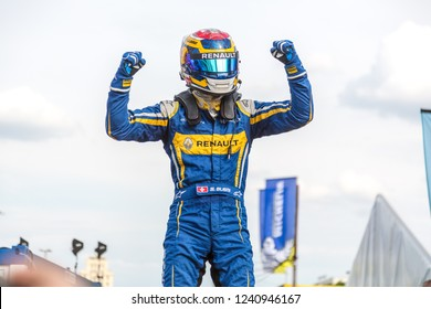 Berlin, Germany - May 21, 2016: Swiss professional racing driver Sébastien Buemi exulting on the podium at the E-Prix FIA Formula E race car Championship Award Ceremony