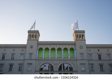 BERLIN, GERMANY - MAY 21, 2018: the Hamburger Bahnhof, a former railway station now converted to a modern art museum in Moabit, Berlin.