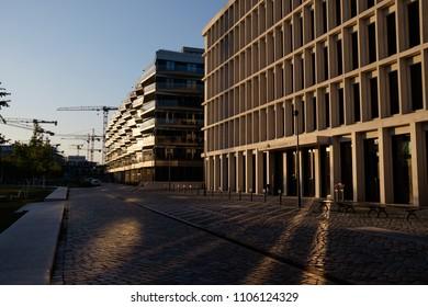 BERLIN, GERMANY - MAY 21, 2018: a new office and housing development near the Hamburger Bahnhof in Moabit, Berlin.