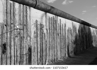 BERLIN, GERMANY - MAY 21, 2018: a section of the Berlin Wall at the memorial site on Bernauer Strasse, Mitte, Berlin.