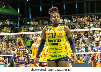 Berlin, Germany - May 21, 2019: Volleyball player Miriam Fatime Sylla, part of the Imoco Volley Conegliano, Italian women's volleyball club, during the CEV Champions League Volley 2019 Super Final