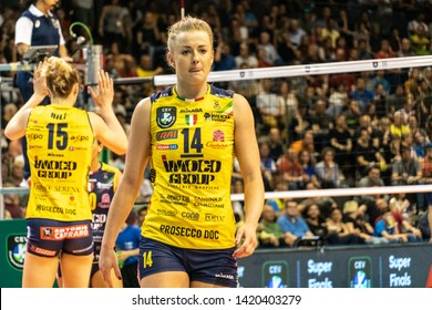 Berlin, Germany - May 21, 2019: Polish volleyball player Joanna Wołosz, part of the Imoco Volley Conegliano, Italian women's volleyball club, during the CEV Champions League Volley 2019 Super Final
