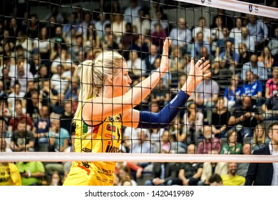 Berlin, Germany - May 21, 2019: American volleyball player Karsta Lowe, part of the Imoco Volley Conegliano, Italian women's volleyball club, during the CEV Champions League Volley 2019 Super Final