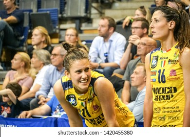 Berlin, Germany - May 21, 2019: Volleyball players Anna Danesi and Valentina Tirozzi, part of the Italian women's club Imoco Volley Conegliano, during the CEV Champions League Volley 2019 Super Final