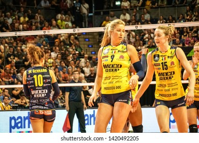 Berlin, Germany - May 21, 2019: American volleyball players Karsta Lowe and Kimberly Hill, part of the Italian women's club Imoco Volley Conegliano, during the CEV Champions League Volley 2019 Final