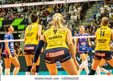 Berlin, Germany - May 21, 2019: Volleyball players of the Italian women's club Imoco Volley Conegliano during the CEV Champions League Volley 2019 Final