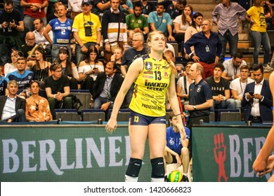 Berlin, Germany - May 21, 2019: Croatian volleyball player Samanta Fabris, part of the Imoco Volley Conegliano, Italian women's volleyball club, during the CEV Champions League Volley 2019 Super Final